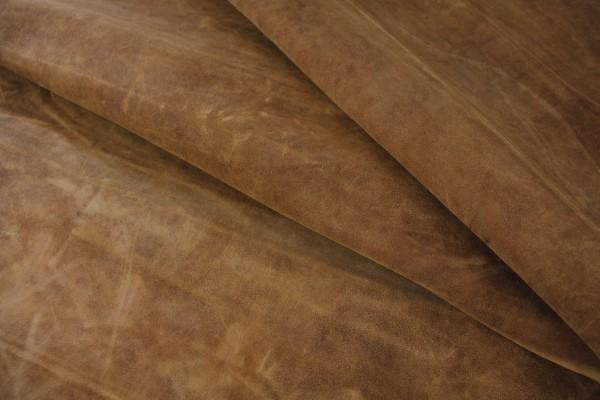 Ziege Futterleder (braun rustikal / 1,2 - 1,3 mm) 0,51 m²