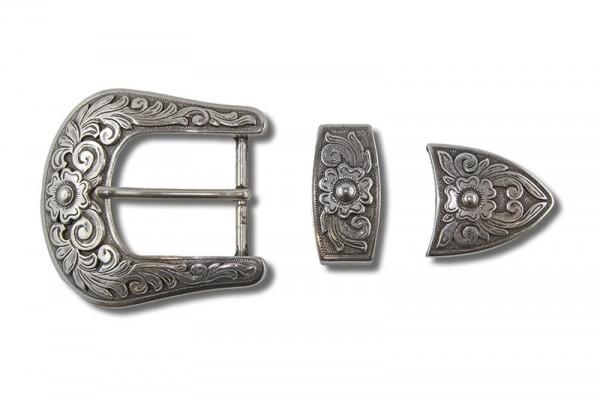 Diablo - Gürtelschnallen Set, Antik Silber