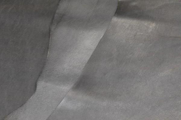 Ziegen - Futterleder (steingrau, glänzend / 0,8 - 1,0 mm) 0,35 m²