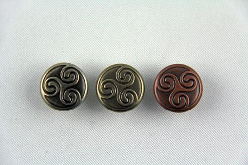 """Druckknopf """"Celtic Triskel"""" 10 St. (Line 24 / Ø 15,5 mm"""