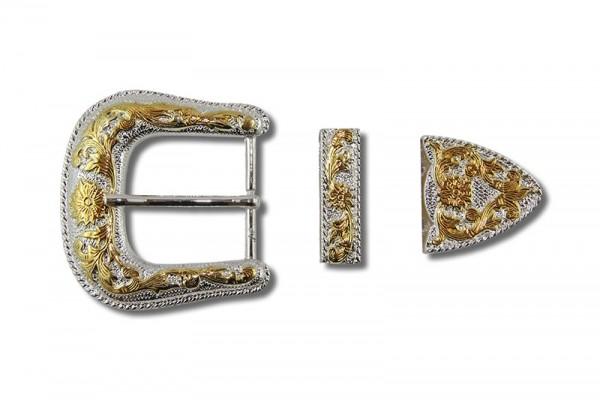 Gürtelschnallen Set, Viktorianisch Silber / Gold