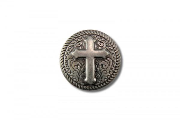 Concho aus Stahlblech, Kreuz V